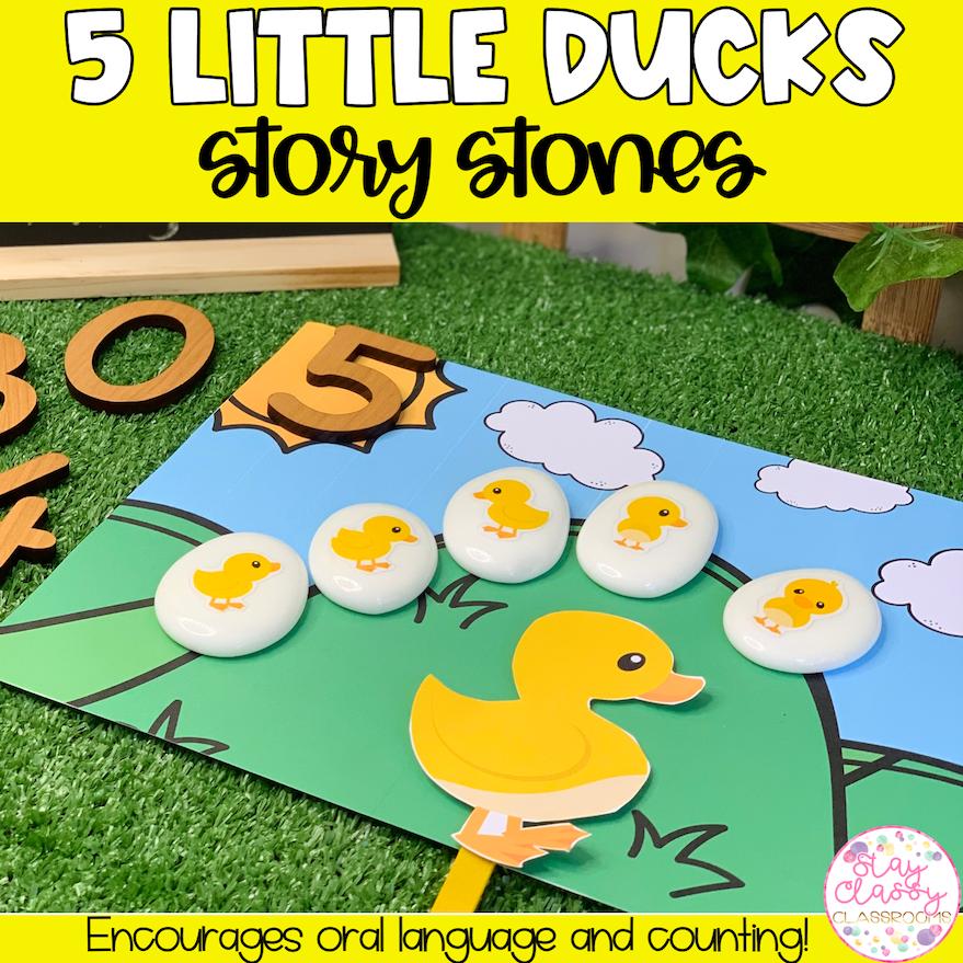 5 Little Ducks Story Stone Printables