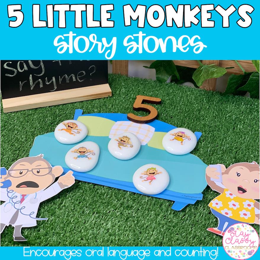 5 Little Monkeys Story Stone Printables