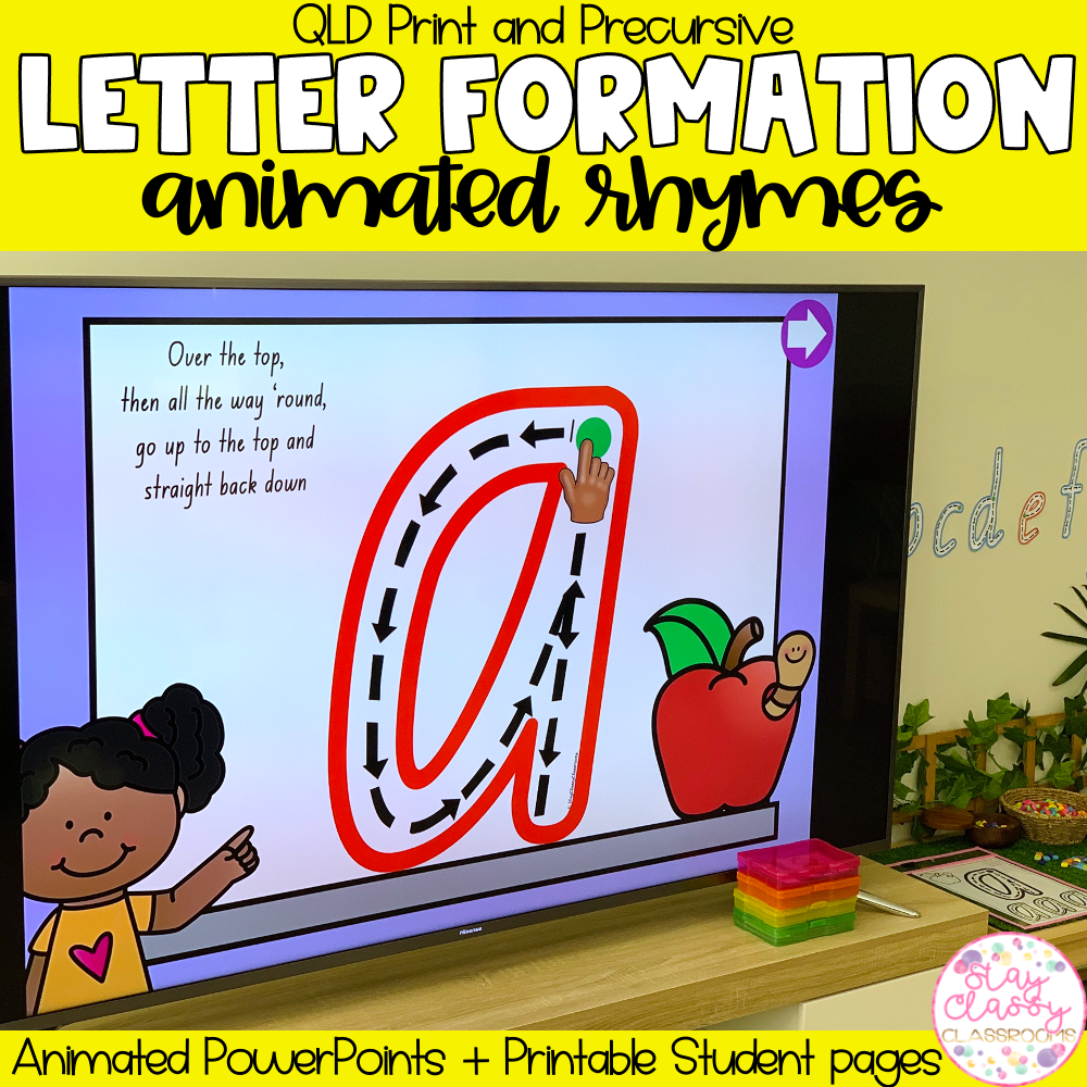 Letter Formation Rhymes Animated PowerPoint   QLD Print & Precursive