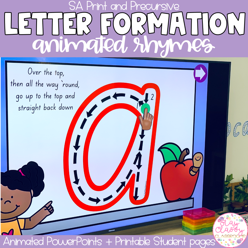 Letter Formation Rhymes Animated PowerPoint   SA Print & Precursive