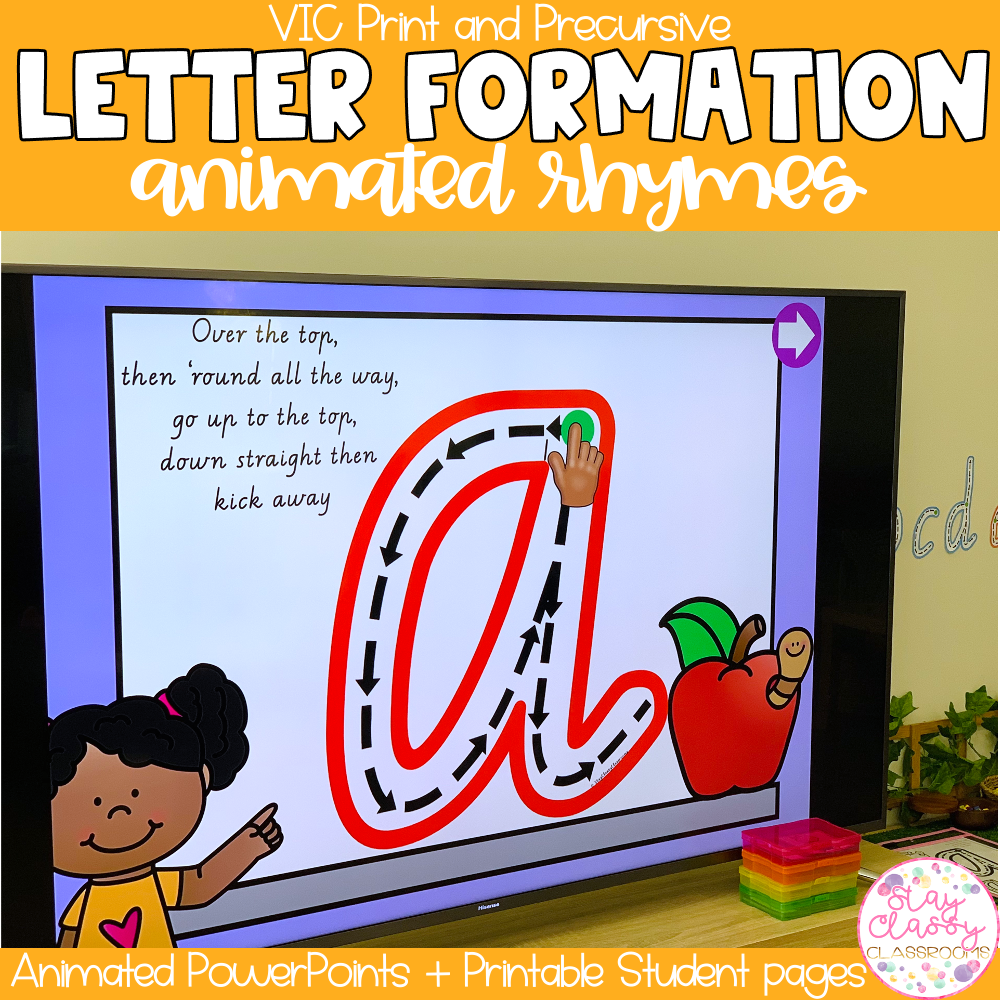 Letter Formation Rhymes Animated PowerPoint   VIC Print & Precursive